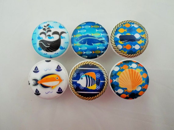 Set of 6 blue and white fish cabinet knobs for Fish cabinet knobs
