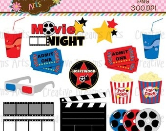 40% Off! Movie Night Digital Clip Art Instant Download