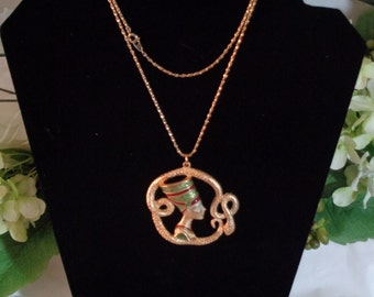 Egyptian Revival Queen Nefertiti Snake Serpent Necklace Red Green Enamel Goldtone 24 inch chain
