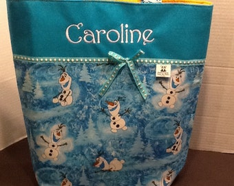 Personalized Ribbon tote made with Olaf fabric