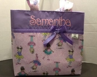 Personalized ballet small ribbon tote bag