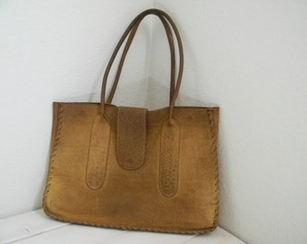 Vintage leather purse bag tote library bag bohemian chic traveler's purse caramel brown