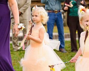2 Doz Wedding Wands, Boho Fabric Streamers with Bells, Fairy Tale Wedding Send Off, Princess Birthday Party Favors, Bouquet Alternative