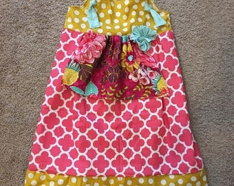 Girls tie knot apron dress  summer dress girls dress size 5  ready to ship