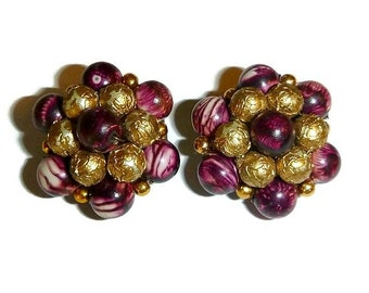 SALE Vintage Burgundy & Gold Bead Cluster Earrings Wine Beaded Jewelry Autumn Fall 50s 60s Fashion Mid Century Mod Gift Under 10 Hong Kong