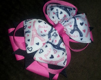 Paris Eiffel Tower Handmade Pink Black Stacked Boutique Bow