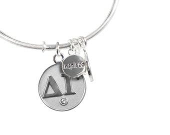 Delta Gamma Greek Letter Bangle Bracelets- Silver or Gold
