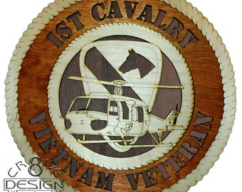 "1ST Cav Div Wood Laser Cut  plaque 10.5"" Army,Vietnam War UH-1 Huey"