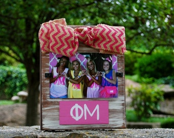 Phi Mu Whitewashed Rustic Frame With Greek Letters