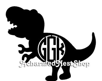 Boys T-Rex Monogram - Wooden Monogram - Circular Monogram - Wooden Letters Wall Decor - Nursery Decor - Dinosaur Monogram - Dinosaur Cut Out