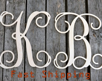 "Fall SALE - Two 16"" Wooden Monograms Letters - Unfinished Wooden Letters - Wedding Monogram - Vine Script Monogram - Monogram Home Decor"