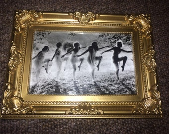 """Dancing witches print in a gold vintage style frame 6x4"""""""