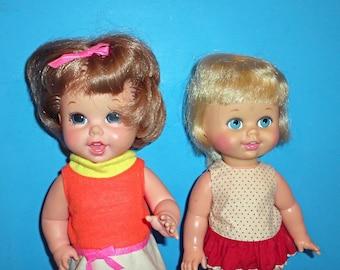 Vintage 1967 Mattel Small Walk and Small Talk Dolls