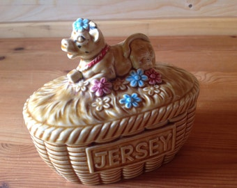 1970s Jersey Cow with flowers ceramic butter dish - Kitsch