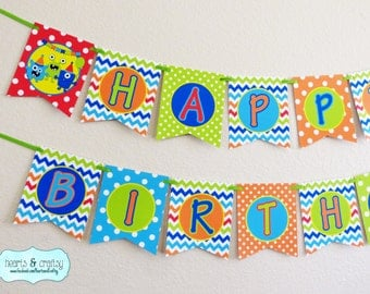 Monster Party Happy Birthday Banner - Little Monster Birthday / Monster Bash! Red - Print Your Own FILE to PRINT DIY