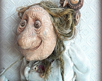 Art doll Wood Retro Vintage Baba Yaga
