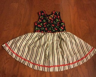 Cherry Dress for Girls, Cherry Dress, Dress with Cherries, Bowl of Cherries Dress, Cherries on Dress, Cherry Picking Dress Size 6