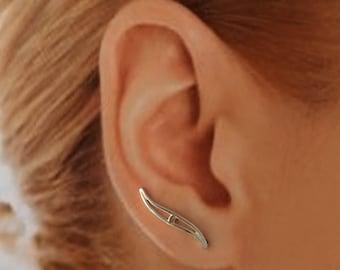 Sterling Silver EarWing, Ear Climber,TW6, Simple, Elegant, minimalist, everyday wear
