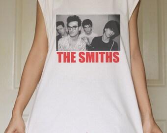 The Smiths Vtg Punk Rock White Organic Cotton Tank Top Tunic Vintage Look One Size