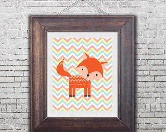nursery printable, printable wall art,  fox printable, nursery fox print, digital wall decor, nursery decor, woodland printable, 8x10