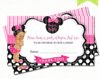 "Minnie Mouse Baby Shower Diaper Raffle card | 3.5"" x 2"" 