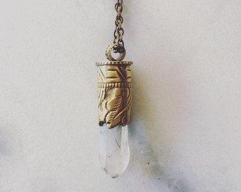 Quartz Point Flower Bezel Necklace