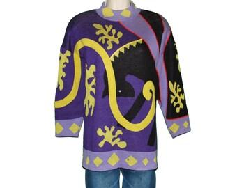 Oversize Christmas Sweater St John Marie Gray Wool Knit Avante Garde Sz S teamvintageusa ecochic team