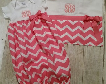 Layette with matching burp cloth
