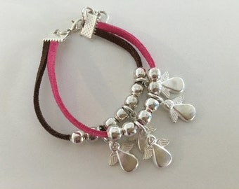 Double leather band angel charms