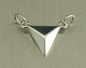 Sterling Silver Pyramid Link Charm--Small Dimensional Triangle Festoon--Connector Charm--Geometric Charm--Shape Festoon--Slice Shape