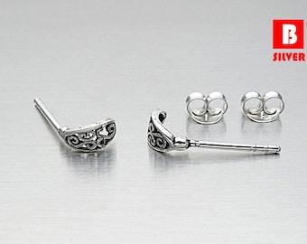 925 Sterling Silver Oxidized Earrings, Stud Earrings (Code : EG45)