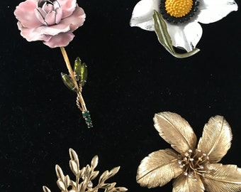 "Flower Power""  Vintage Pins"