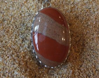 Botswana Agate and Sterling Silver Pendant with Sterling Silver Chain
