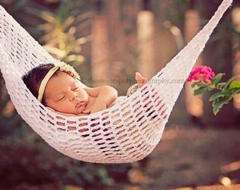 Baby Hammock - Newborn Hammock - Newborn Girl Hammock - Baby Photography Props -  Baby Photo Outfit- Crochet Baby Hammock -Custom Photo Prop