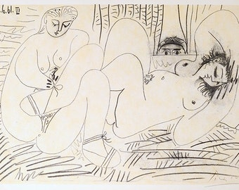 PABLO PICASSO - 'Des Jeuners' - vintage offset lithograph - 1962 (Mourlot/Cercle d'Art, Paris)