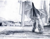 """Signed Giclée Art Print by Vanessa Walsh, """"Pointe"""", ballet Art, Black and White watercolour print"""