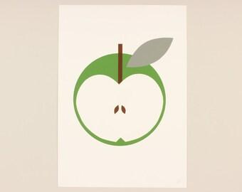 A3 Green apple with grey leaf Screenprint