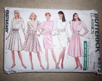 Butterick Classics #6572, Very Easy Dress Pattern, Size 6-8-10, Fast And Easy, Sewing Pattern, Copyright 1988, Flared Or Slim Skirt