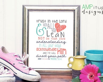 Proverbs 3:5-6 Printable Bible Quote - Kid Room Decor - Coral, Aqua, Gray Decor - Nursery Decor - Printable Bible Verse - Trust in the Lord
