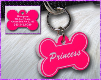 Personalized Custom Engraved Plastic Pet ID Tag 2-sided Bone Pink / White
