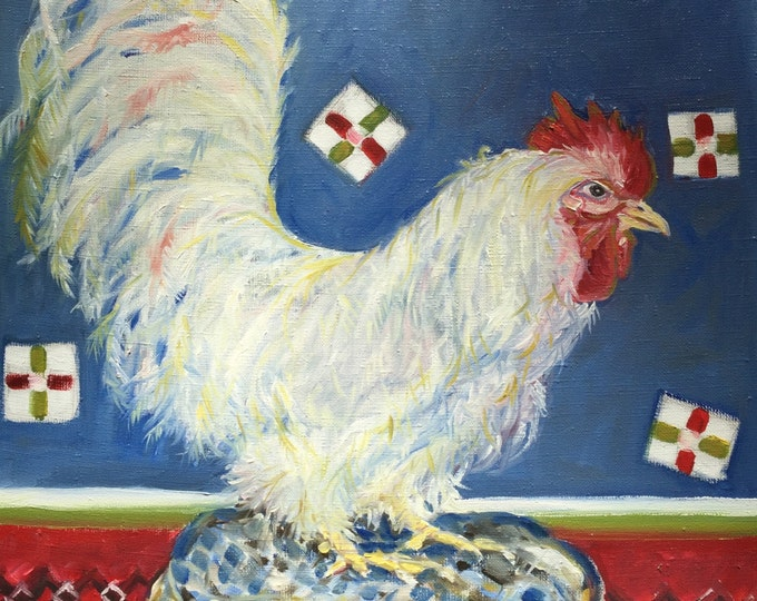 Red, White and Blue Chicken Oil Painting