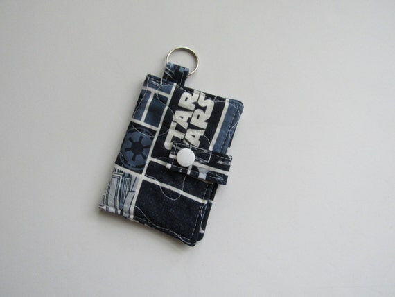 Quilted business card holder keychain wallet credit card for Keychain business cards