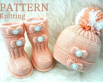 Baby Hat And Booties Knit Pattern : Knitting PATTERN Baby Booties Baby Shoes Patterns Knit Baby