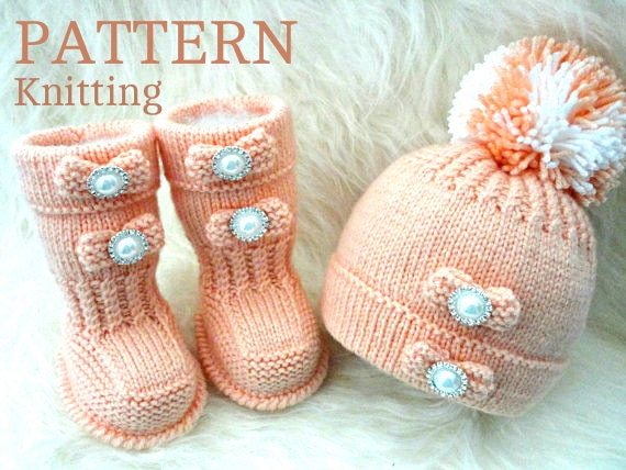 Girls Knitted Hat Pattern : Knitting PATTERN Baby Shoes Baby Booties Baby Hat Baby Beanie