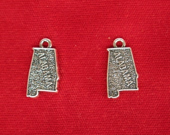 "10pc ""Alabama"" charms in antique silver (BC889)"