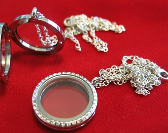 "BULK! 10pc 30mm Floating Charm Locket ""Round"" with necklace (LC9B)"