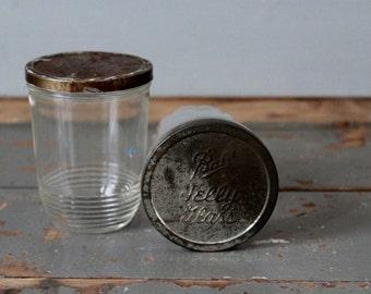 Vintage Jelly Jars / Pair of Vintage Jelly Jars with Zinc Lids / Zinc Lid Jelly Jars / Pair of Vintage Lidded Jelly Jars / Kerr Jelly Jar