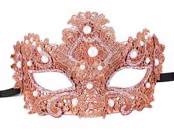 Rose Gold Masquerade Mask, Masquerade Mask, Masquerade Ball Masks, Mask, Mardi Gras Mask, Lace Mask, Lace Masquerade Mask