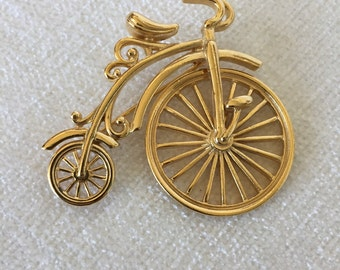 SALE Gold bicycle brooch big wheel spins