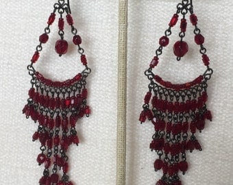CLEARANCE SALE Red Bead chandelier earrings